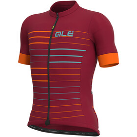 Alé Cycling Solid Ergo Maillot Manga Corta Hombre, masai red/turquoise